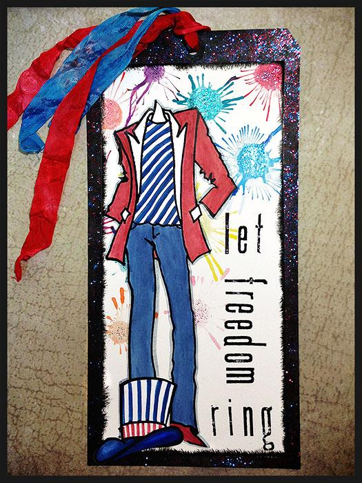 Dylusions and Distress 4th of July Tag