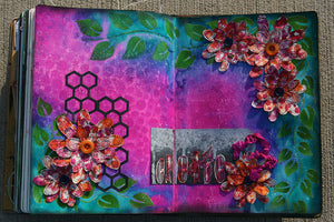 Dylusions Spring Art Journal Page by Kourtney Osborn-Vallee