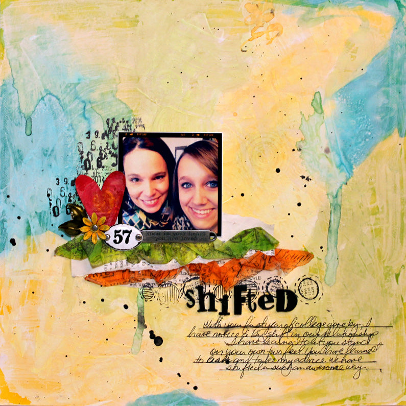 Gesso Shifted Scrapbook Layout