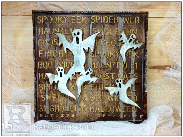 Ghostly Halloween Mixed-Media Canvas by Zoe Hillman