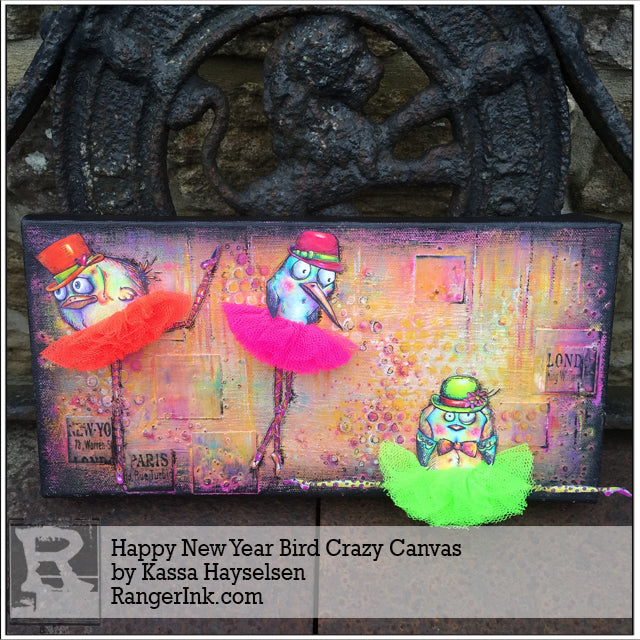 Happy New Year Bird Crazy Canvas by Kassa Hayselden