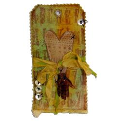 "Shrink Plastic/UTEE ""From Heart and Hand"" Fabric Tag By Tammy Tutterow"