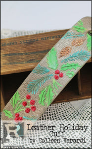 Leather Holiday Cuff with Texture Paste
