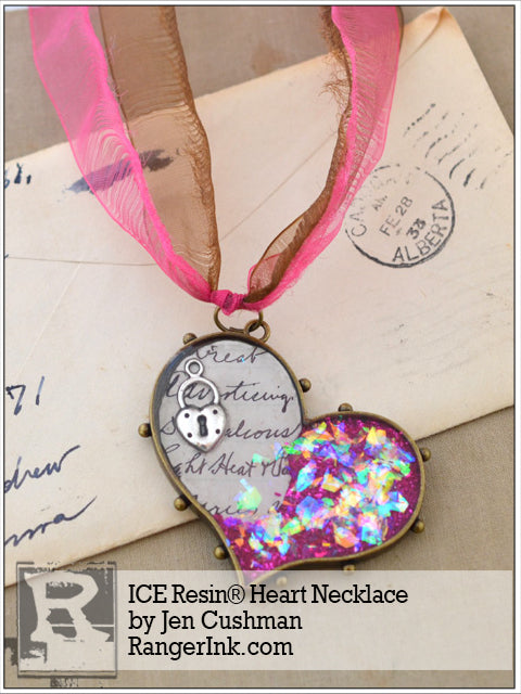 ICE Resin® Heart Necklace by Jen Cushman