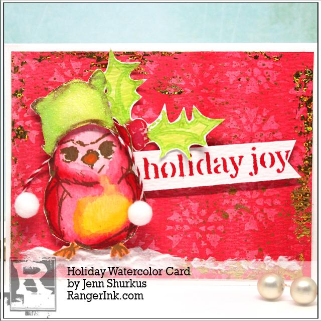 Holiday Watercolor Card By Jenn Shurkus