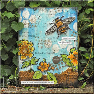 Mixed Media Bee Canvas by Anna-Karin Evaldsson