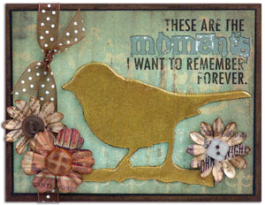 """Moments…"" Distress Metallic Crackle Card By Tim Holtz"