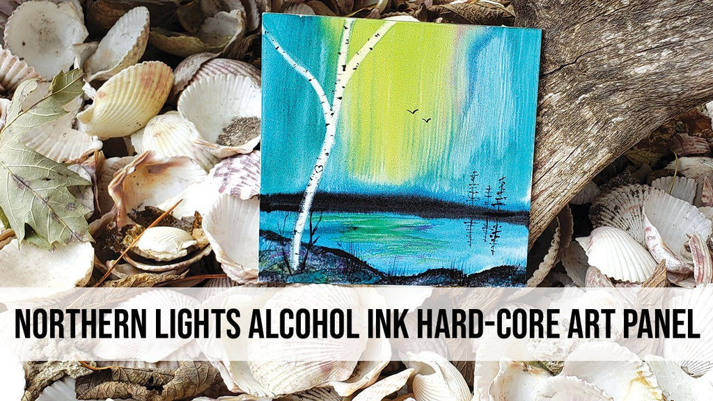 Northern Lights Alcohol Ink Hard-Core Art Panel Painting