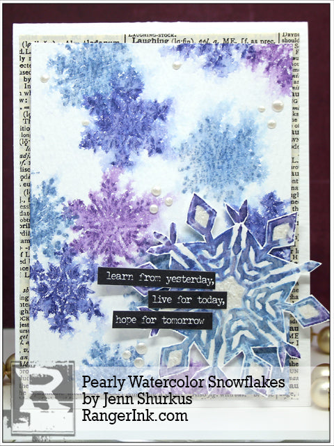Pearly Watercolor Snowflakes Card by Jenn Shurkus