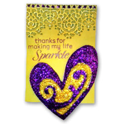 Purple and Yellow Ice Stickles ATC By Cindy Rescorl