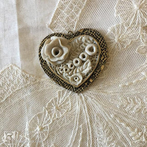 QuickCure Clay Lace Heart Pendant by Sharen AK Harris