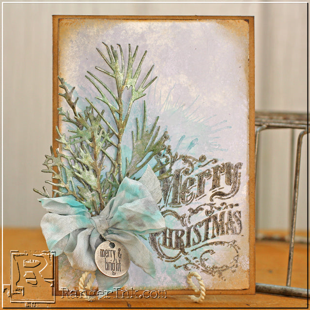 Shimmery Holiday Card featuring Alcohol Inks by Tammy Tutterow