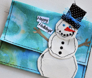 Color Wash Snowman Gift Pocket By Dina Wakley