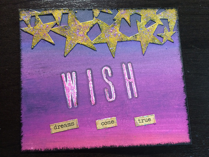 Stickles & Distress Paint Dreams Come True Card by Linda Ledbetter