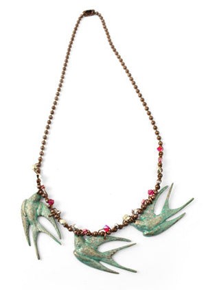 Vintaj Patinas Three Little Birds Necklace