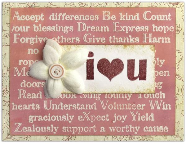 Ranger Watermark Resist I Love You Card By Lisa Dixon