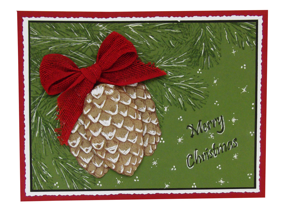 White Pen Pinecone Christmas Card By Roni Johnson