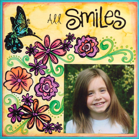 "All Smiles 8″ x 8"" Alcohol Ink Layout By Jen Starr"