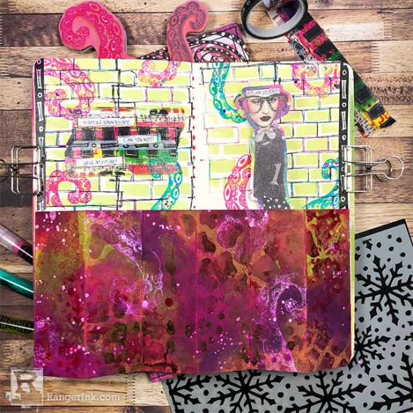 Dimensional Pop-Up Art Journal Page by Josephine Fourage | www.rangerink.com