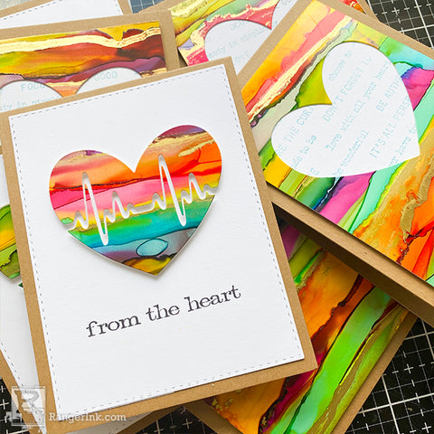 Alcohol Ink Hearts Card by Cheiron Brandon