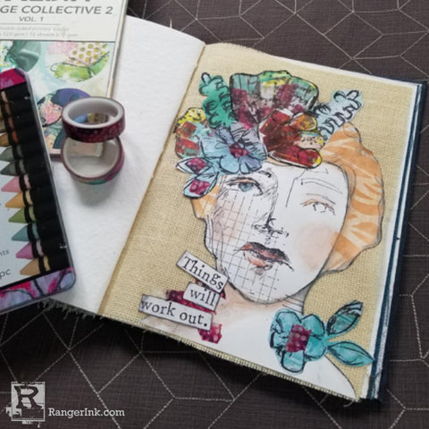 Dina Wakley MEdia White Burlap Art Journal by Megan Whisner Quinlan