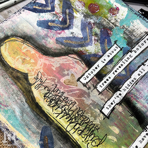 Dina Wakley Media Art Journal Page Close up