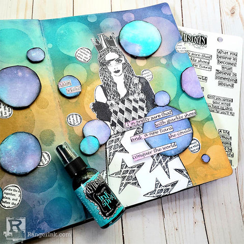 Dylusions Bauble Spread by Megan Whisner Quinlan