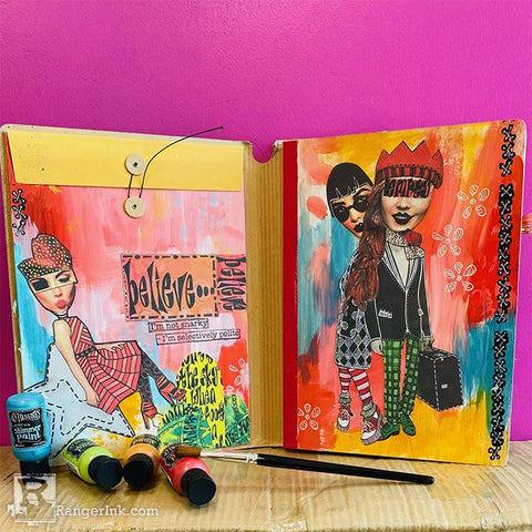 Dylusions I'm Not Snarky Journal Spread by Milagros Rivera