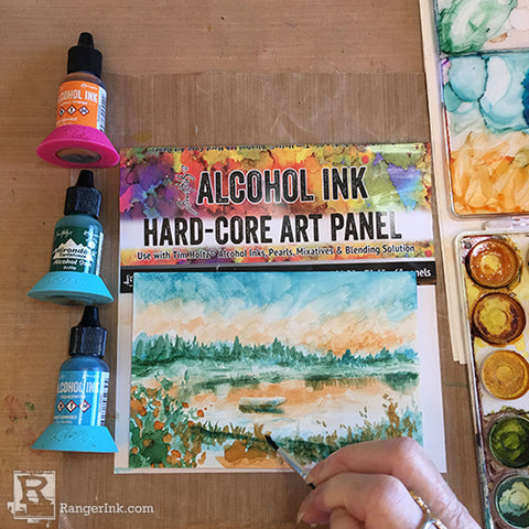 Alcohol Ink Hard-Core Panel Painting Step 7
