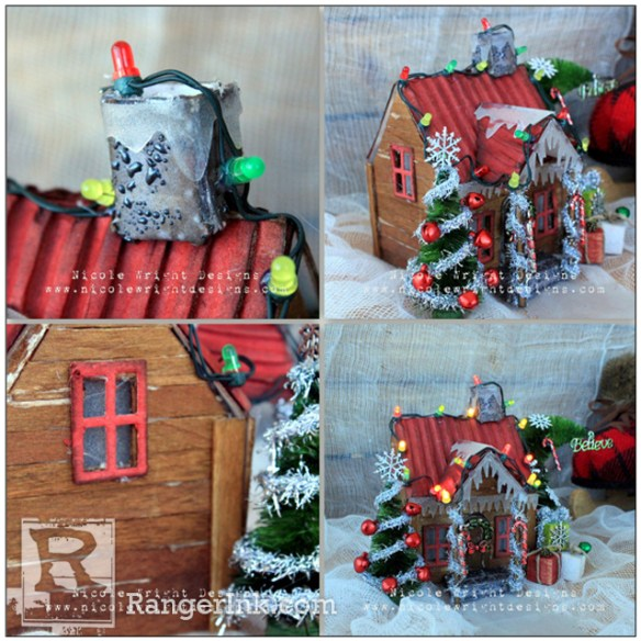 Festive Log House by Nicole Wright