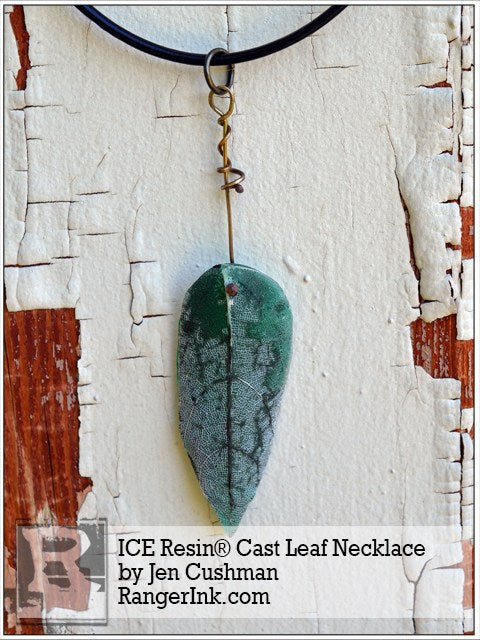 ICE Resin Cast Leaf Necklace by Jen Cushman | www.rangerink.com