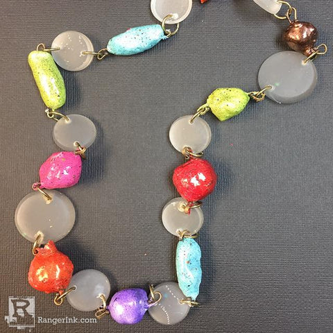 Enameled Quickcure Clay Bead Necklace