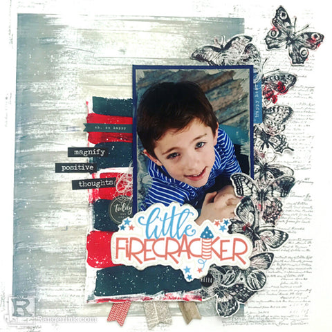 Mixed Media Fourth of July Scrapbook Page Step Beauty