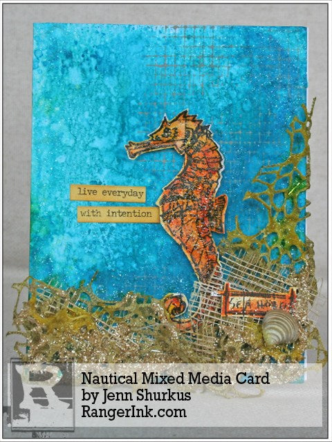 Nautical Mixed Media Card by Jenn Shurkus | www.rangerink.com
