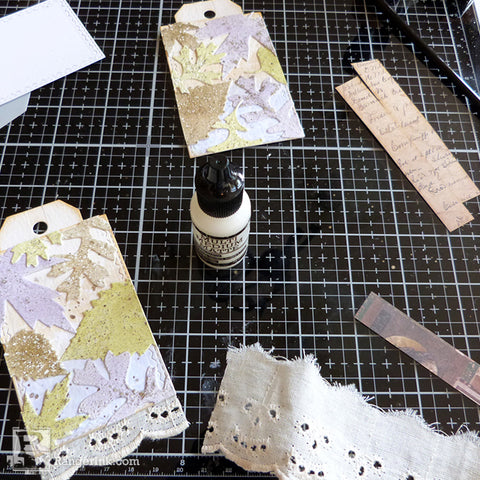 Speckled Embossing Powder Tags Step 9