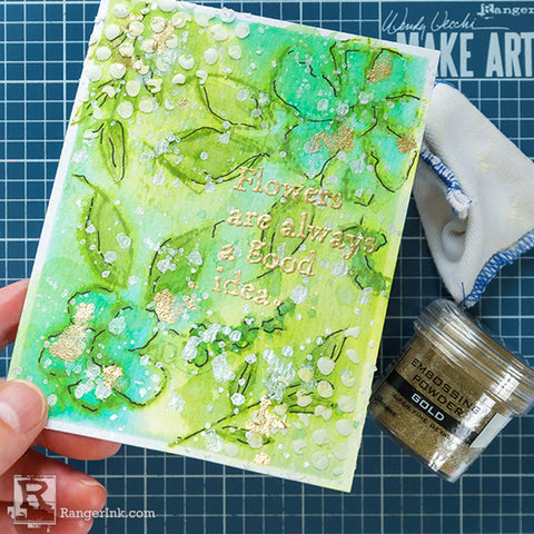 Wendy Vecchi Watercoloured Flowers Card Step 6