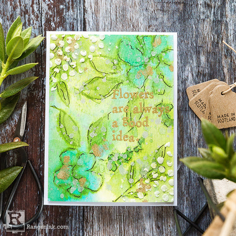 Wendy Vecchi Watercoloured Flowers Card Step 8