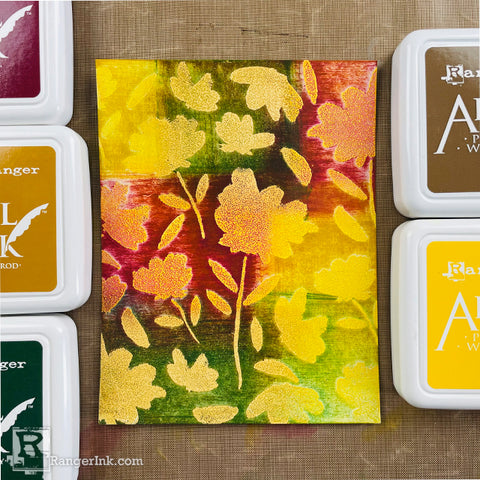 Archival Ink Fall Patchwork Background Card Step 2a
