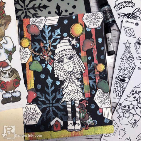 Dylusions Hats Off To Christmas Journal Page by Denise Lush