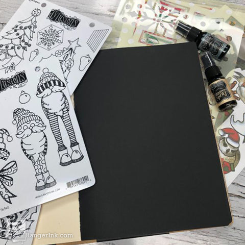 Dylusions Hats Off To Christmas Journal Step 1