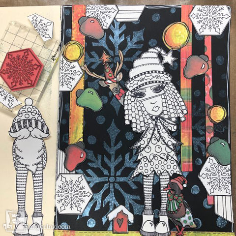 Dylusions Hats Off To Christmas Journal Step 9