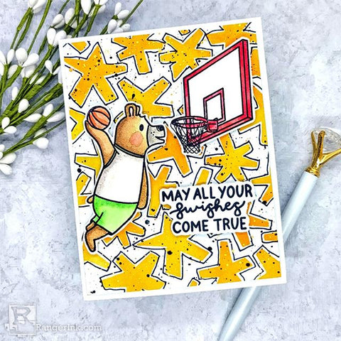 Simon Hurley create. Best Swishes Card by Lynnea Hollendonner