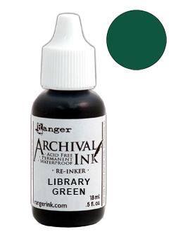 Archival Ink™ Pads Re-Inker Library Green, 0.5oz Ink Archival Ink