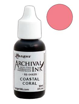 Archival Ink™ Pads Re-Inker Coastal Coral, 0.5oz Ink Archival Ink