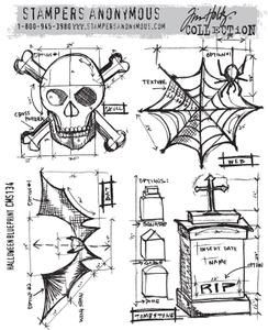 Tim Holtz® Stampers Anonymous - Cling Mount Stamps - Halloween Blueprint #1 Stamps Tim Holtz Other