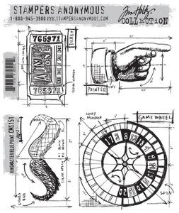 Tim Holtz® Stampers Anonymous - Cling Mount Stamps - Ringmaster Blueprint Stamps Tim Holtz Other