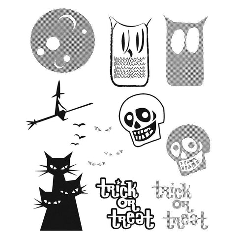 Tim Holtz® Stampers Anonymous - Cling Mount Stamps - Halftone Halloween Stamps Tim Holtz Other