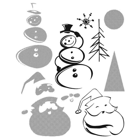 Tim Holtz® Stampers Anonymous - Cling Mount Stamps - Halftone Christmas