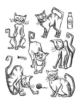 Tim Holtz® Stampers Anonymous - Cling Mount Stamps - Crazy Cats