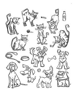 Tim Holtz® Stampers Anonymous - Cling Mount Stamps - Mini Cats & Dogs